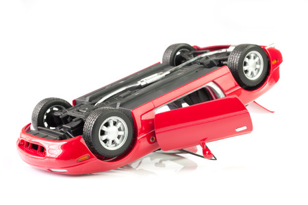 Red sport Car Crash, accident isolated on white background  photo