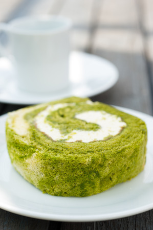 Afternoon Tea with Green tea cake roll photo