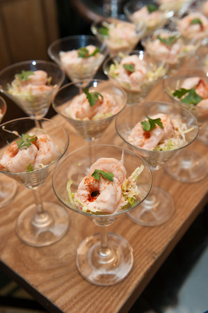 Classic prawn cocktail, catering Stock Photo