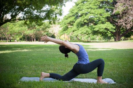 yoga pose in park