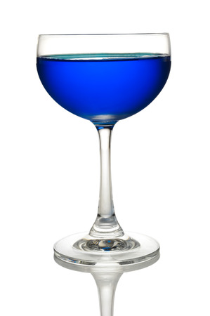 Glass of Blue cocktails color isolate on white background photo