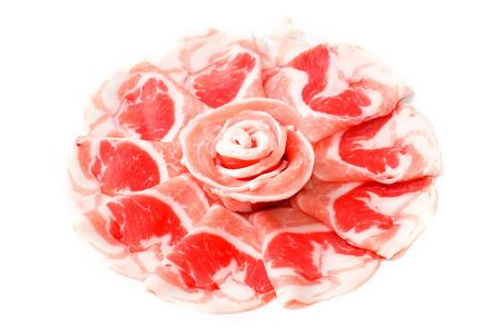 Raw Pork sliced isolated on white background