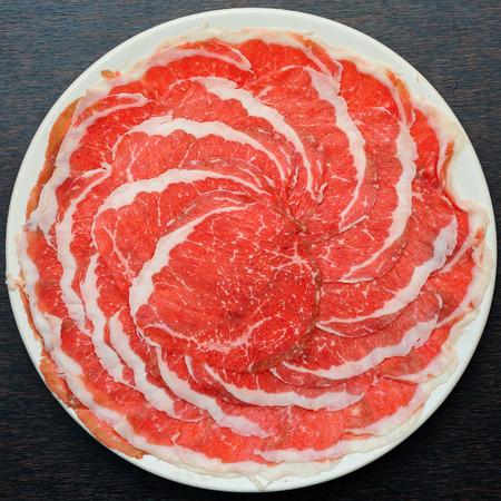 스키야키 신선한 쇠고기 돼지 고기 조각 스톡 콘텐츠