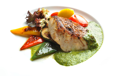 Red Snapper Steak wtih Green Sauce and salad
