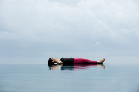 Yoga pose Relax floating on the water, Savasana Corpse Pose