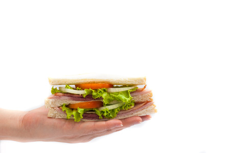 holding Sandwich ham cheese on white background