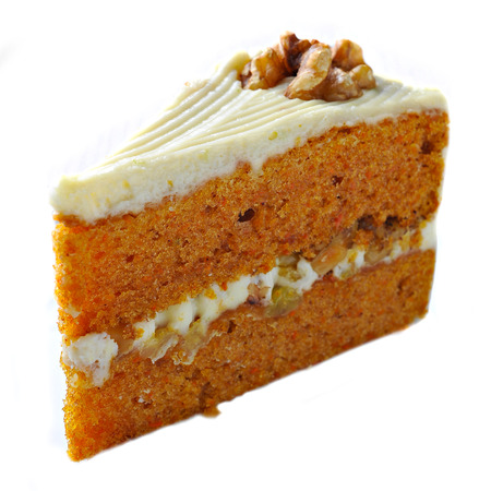 carrots: Carrot Cake isolated on white background Stock Photo
