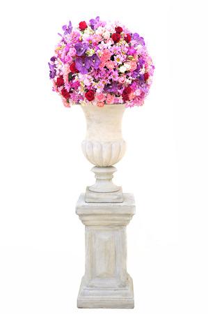roman pillar: Vase of Flowers on Roman stone pillar