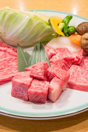 Best selected Hida premium beef plated, yakiniku japanese food photo