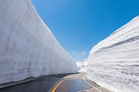 立山黒部アルペン ルート」日本の目的地の旅行で雪の壁の間の道路