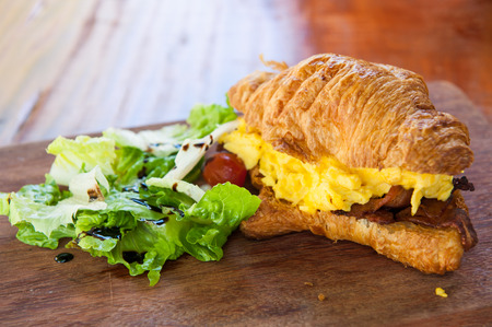 croissant ham bacon with eggs and salad, sandwich recipe