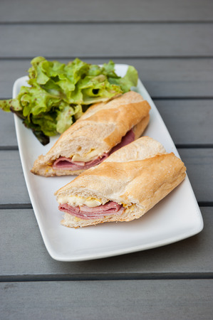 Ham & Brie Sandwich served with salad photo