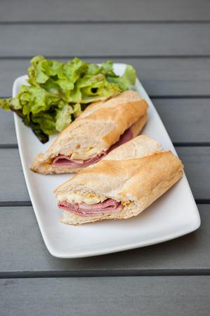 Ham & Brie Sandwich served with salad photo