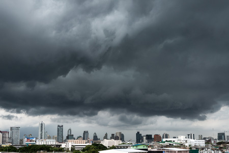 Storm with Bangkok city view photo