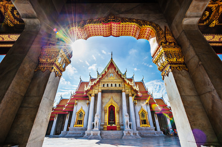 The Marble Temple, Wat Benchamabopitr Dusitvanaram Bangkok THAILAND Imagens - 36029029