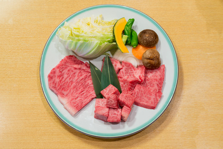 Best selected Hida premium beef plated, yakiniku japanese food photo