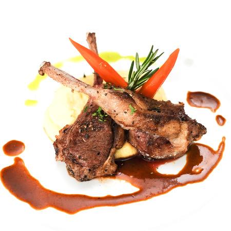 mash: Roasted Lamb Chops grilled with mash potato and cream sauce Stock Photo