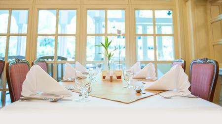 restuarant: decoration dinner table in restuarant Stock Photo