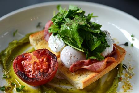 benedict: eggs benedict breakfast bacon poached egg, potatos and salad
