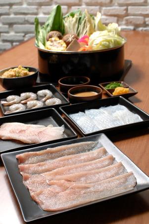 favorite soup: Sukiyaki Fresh Beef pork slices, Vegetable, Dinner Set