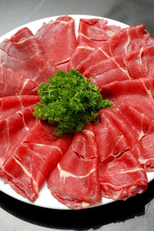 favorite soup: Premium raw japanese beef sliced on plate