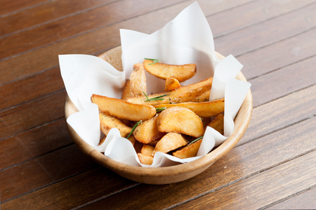 fried snack: potato wedges, breakfast menu potato deep fried snack
