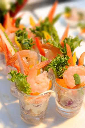 salad decoration: Shrimp with Salad Cocktails, catering decoration