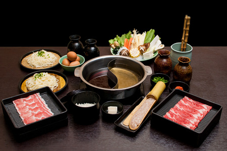 Sukiyaki Fresh Beef pork slices, Vegetable, Dinner Set