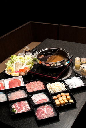 Sukiyaki Fresh Beef pork slices, Vegetable, Dinner Set
