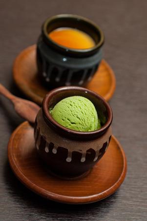 eis: Green tea icecream Stock Photo