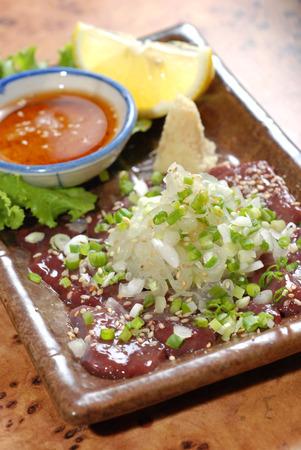 korean food: fresh liver, korean food