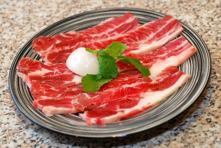 Premium raw korean beef bbq sliced on plate