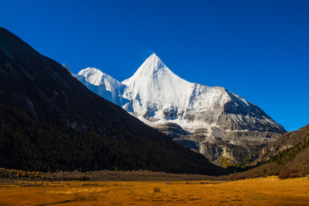 Yading  national reserve in Daocheng County, in the southwest of Sichuan Province, China. Stock Photo