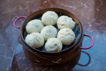 Chinese Pork Buns is the most Popular Food for Chinese Breakfast Stock Photo