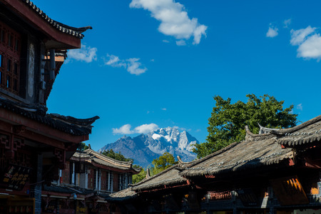 Jade Dragon Snow Mountain View from The Old Town of Lijiang, Yunnan, China.