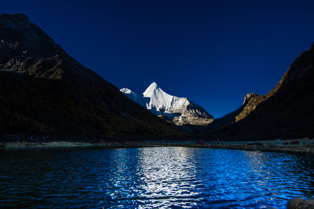 holy snow mountain at Yading national reserve in Daocheng County, in the southwest of Sichuan Province, China.