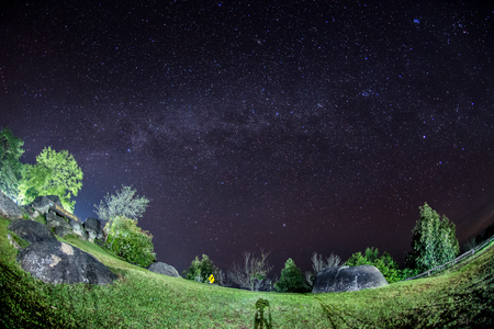 Milky way over Huai Nam Dang National Park in Chiang Mai, North of Thailand