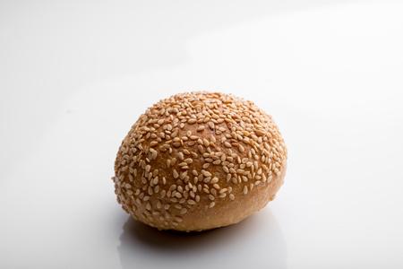 pumpernickel: Sesame bread on a white background