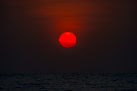 Beautiful  Red Sunrise above the sea background