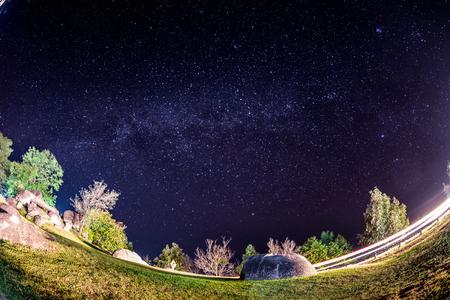 Milky way over Huai Nam Dang National Park in Chiang Mai, North of Thailand.