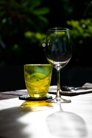 Wine glasses on table in restaurant Stock Photo