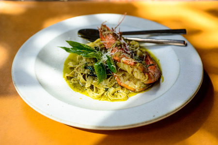 Fettuccine with Pesto Cream Sauce and Grilled river shrimp