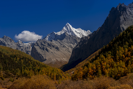 Holy snow mountain, Yading Nature Reserve in the Kham region of Sichuan