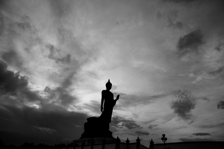 big standing Lord Buddha statue at Phutthamonthon is a Buddhist park in the Phutthamonthon District in Nakhon Pathom province, THAILAND