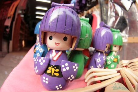 toyshop: Japanese wooden dolls Stock Photo