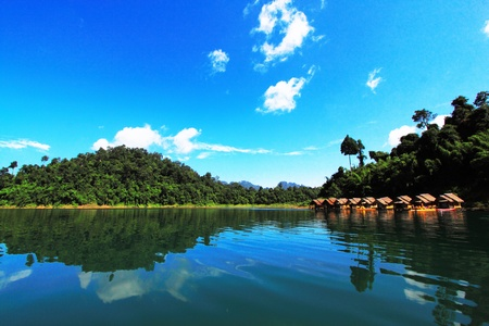 blue sky over water and mountain Stock Photo - 10758299