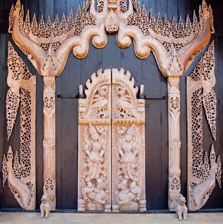 wood carving door: Thai style wood carving Stock Photo