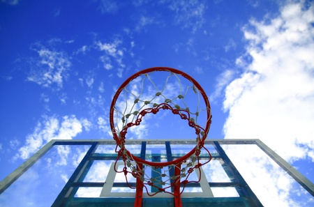 Basket hoop and Blue sky photo