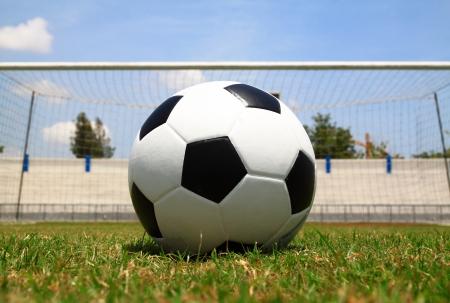 delirious: Soccer ball on penalty Stock Photo