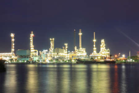Refinery plant area at night photo